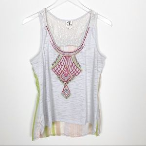 Anthro One September embroidered tank top